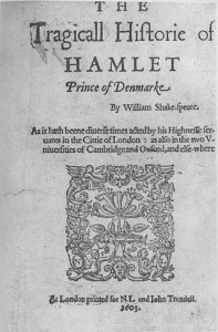 The title page of the Hamlet First Quarto