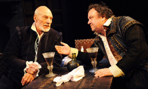 Patrick Stewart as Shakespeare and Richard McCabe as Ben Jonson in Edward Bond's play Bingo