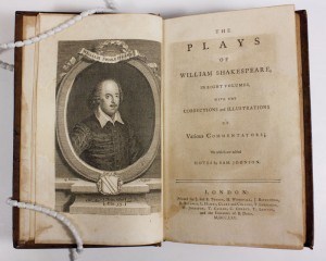 The title page of the 1765 edition of Shakespeare's Works, edited by Samuel Johnson