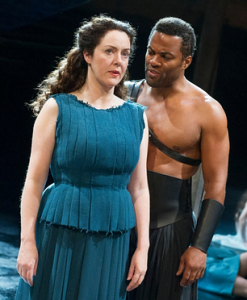 Derbhle Crotty as Hecuba, Ray Fearon as Agamemnon, RSC 2015
