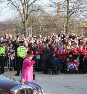 The Queen arriving to open the Royal Shakespeare Theatre, March 2011