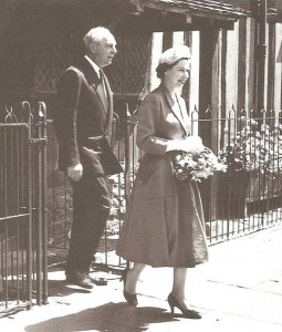 Queen Elizabeth II leaving Shakespeare's Birthplace on her first visit to Stratford as reigning monarch, 1957.