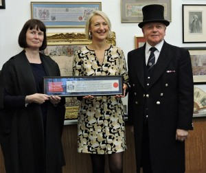 Sharon Little, Freeman of the City of London, with her certificate and officials