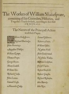 The list of actors in the First Folio including Shakespeare, Heminges and Condell