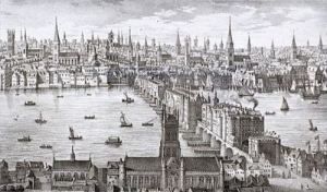 London Bridge in an engraving by Visscher in 1616
