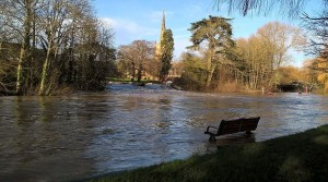 The Avon recently: high, but not in flood
