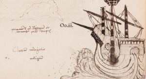 One of John Dee's annotations showing a ship
