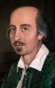 Detail from Geoff Tristram's portrait of Shakespeare