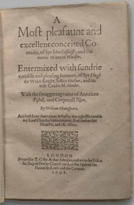 The title page of the First Quarto of The Merry Wives of Windsor