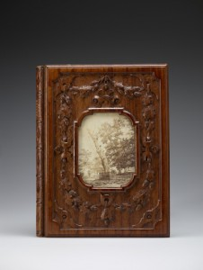 Perry's book on Herne's Oak, bound in carved wood from the fallen tree
