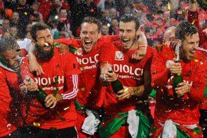 The Welsh football team celebrating