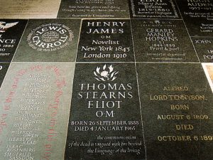 Ledger stones set into the floor of Poet's Corner