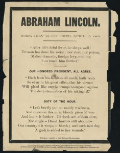 "death of lincoln in 1865 essay Will then have 45 minutes to write your essay using the documents below and   ""death of president lincoln at washington, dc april 15, 1865, the nation's."